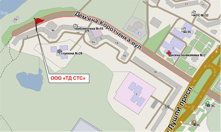 Расположение где ООО ТД СТС на карте города Сумы